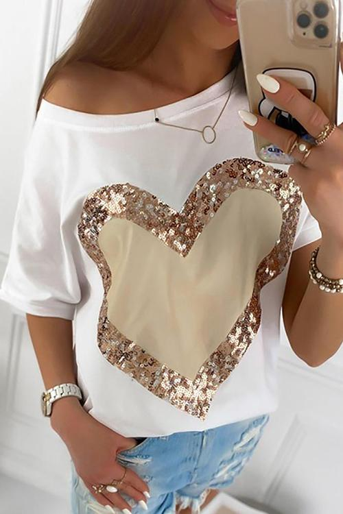Allovely Love Sequins Short Sleeve T-Shirt