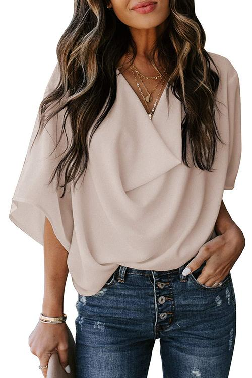Allovely Solid Color Loose Chiffon Blouse