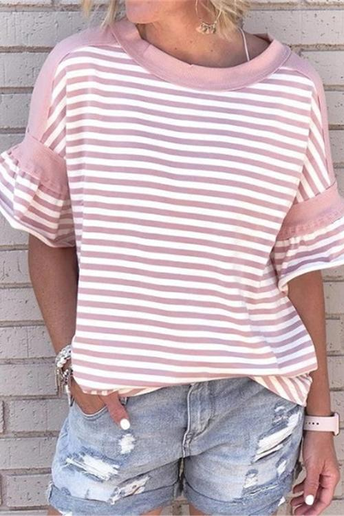Allovely Striped Simple Short Sleeve T-Shirt
