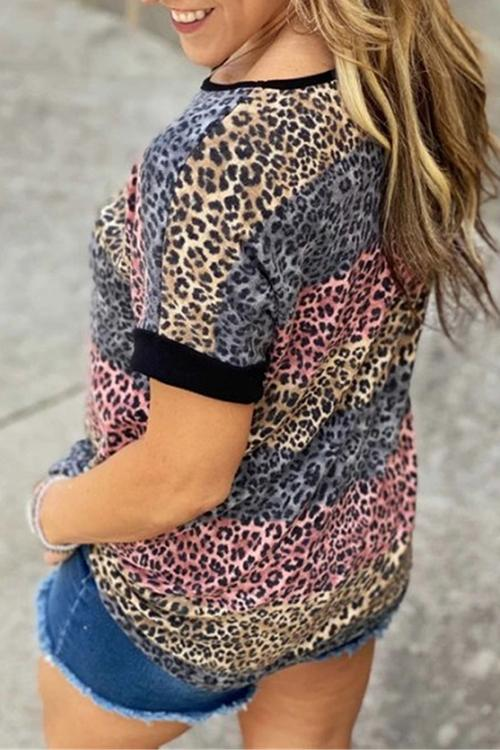 Allovely Casual Leopard-Print Contrast T-Shirt