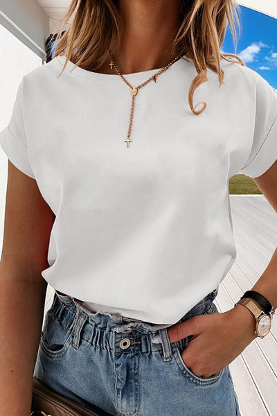 Allovely Solid Color Round Neck Versatile T-Shirt