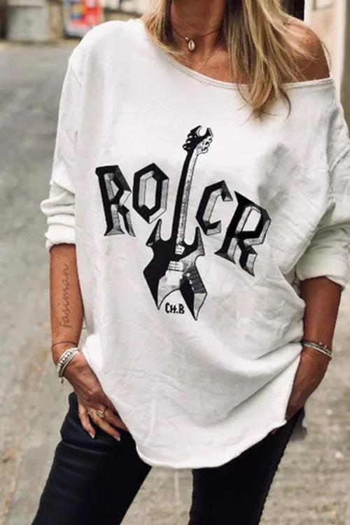 Allovely Diagonal Long Sleeve Printed T-shirt