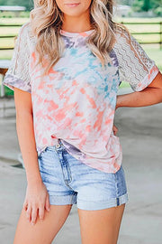 Allovely Tie Dye Lace Splicing Blouse
