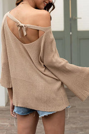 Allovely Openwork Bow Tie Lace-Up Sweater
