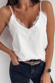 Allovely V Neck Lace Print Vest