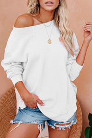 Allovely Solid Color Cold Shoulder  Casual Sweatshirt