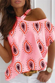 Allovely Paisley Print Cold Shoulder Casual T-shirt