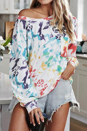 Allovely Off-Shoulder Tie-Dye Long-Sleeved T-Shirt