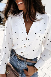 Allovely Polka Dot Long Sleeve Shirt