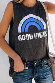 Allovely Sleeveless Rainbow Letter Printed Vest