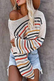 Allovely Strapless Off-The-Shoulder Striped Sweater