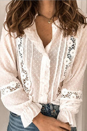 Allovely Solid Lace Openwork Long Sleeve Shirt