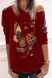 Allovely Round Neck Butterfly Flower Print Top