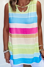Rainbow Striped Cut Out Tank