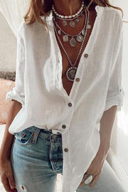 V-Neck Solid Button Shirt