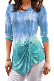 Gradient Print Twisted Long Sleeve T-Shirt