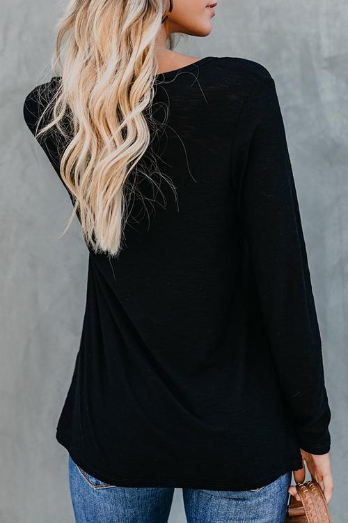 Round Neck Solid Color Long Sleeve T-Shirt