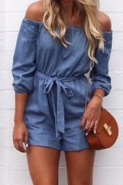Allovely Blue Off Shoulder Romper