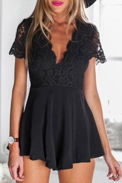 Allovely V Neck Lace Sleeve Romper