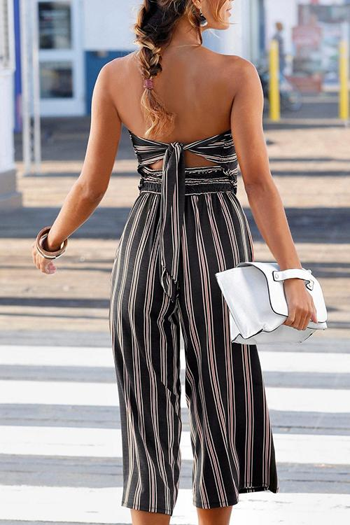 Allovely Bandeau Back Lace-up Striped Jumpsuit