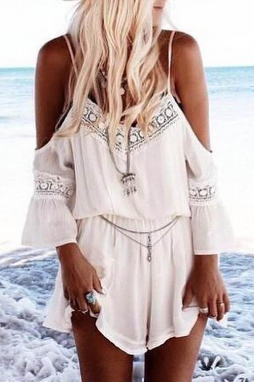 Allovely V-Neck Chiffon Lace Romper