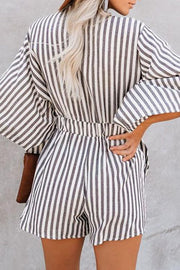 Allovely V Neck Stripe Strappy Romper
