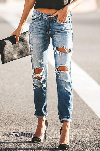 Allovely Button Stretch Ripped Jeans