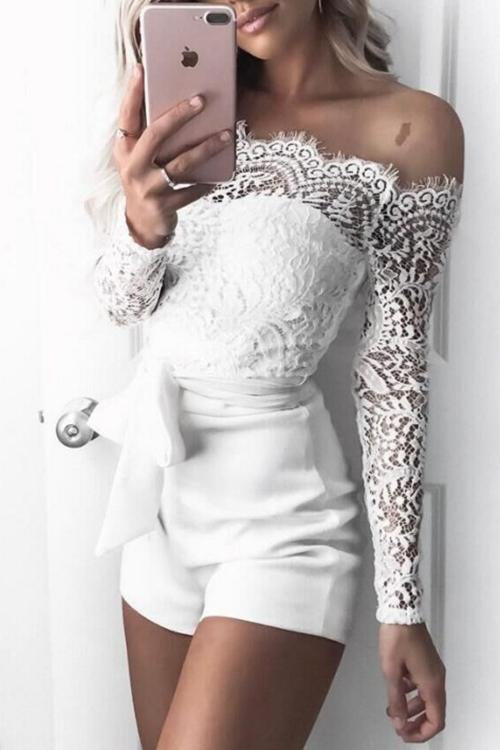 Allovely Off Shoulder Lace Stitching Belt Romper