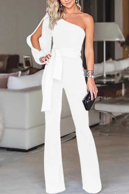 Allovely Solid Color One Shoulder Belt Jumpsuit