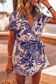 Allovely Leaves Printed Tie Up Romper