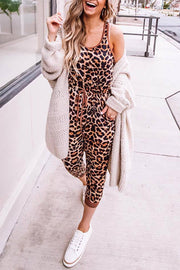Allovely Leopard Sleeveless Pocket Jumpsuit
