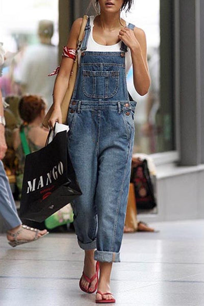 Allovely Denim Distressed Pocket Jumpsuit