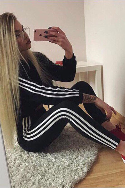 Allovely Striped Sports Suit