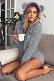 Allovely Hooded  Long Sleeve Plush Romper