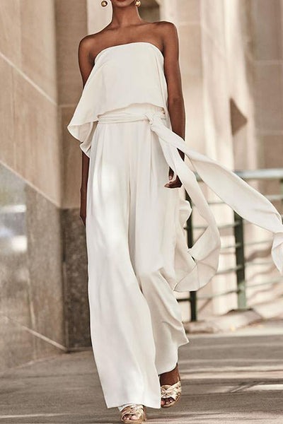 Allovely Casual Ruffled Belt Strapless Jumpsuit