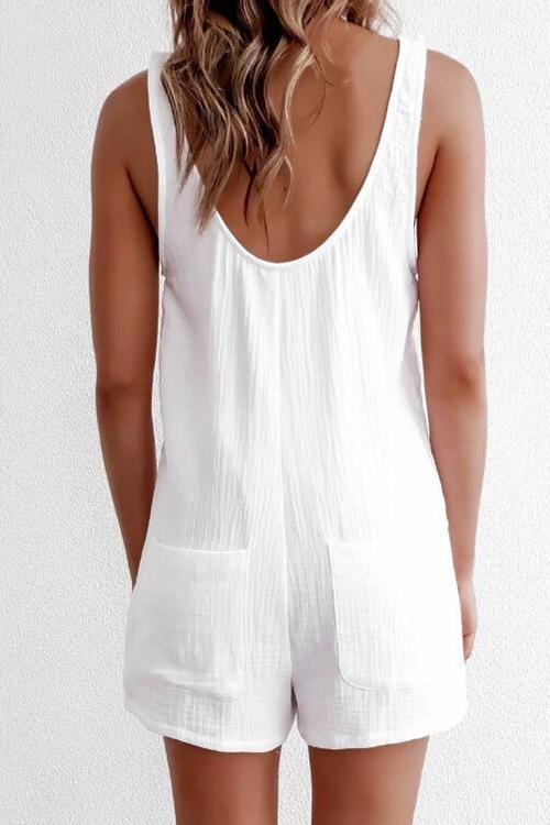 Allovely V Neck Solid Color Buckle Romper
