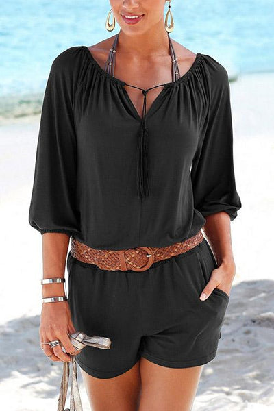 Allovely V Neck Half Sleeve Romper