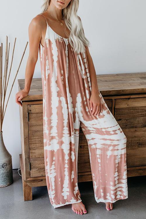 Allovely Tie-Dye Sling Pocket Jumpsuit