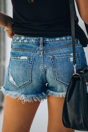 Allovely Blue Hole Mid Rise Button Shorts