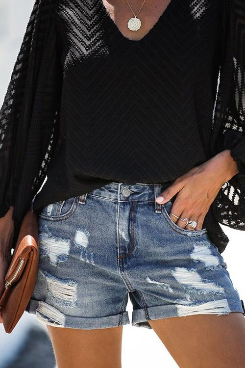 Allovely Buttonhole Ripped Denim Shorts