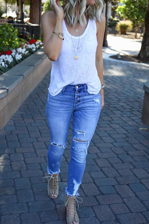 Allovely Buttoned Ripped High Rise Jeans