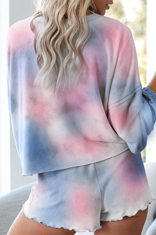 Allovely Tie-Dye Printed Long Sleeve Two-Piece Suit