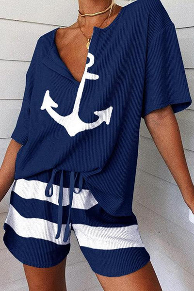 Allovely Anchor Printed Striped Two Piece Set