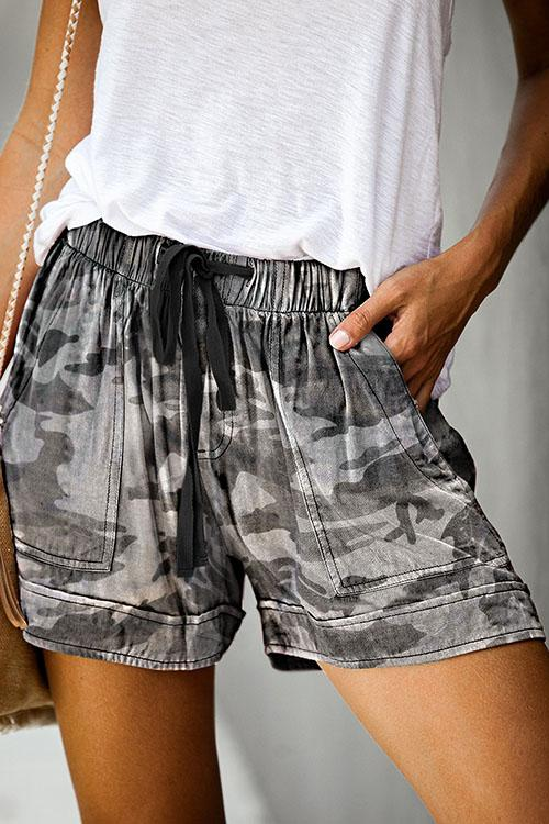 Allovely Camouflage Print Lace-Up Shorts