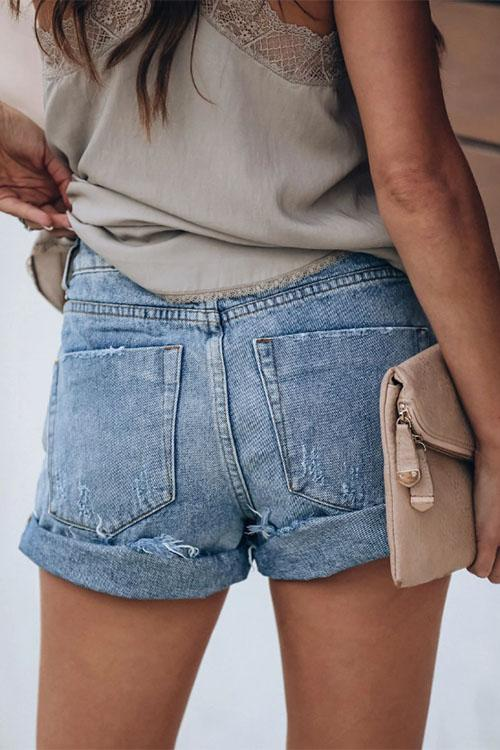 Allovely Distressed Cuffed Denim Shorts