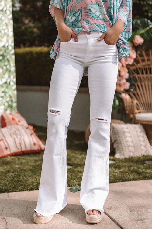 Allovely Solid Color Ripped Denim Flared Pants