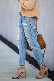 Allovely Straight Ripped Mid-Rise Cropped Jeans
