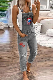 Allovely Lip Embroidered Denim Jumpsuit