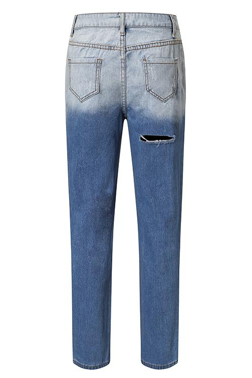 Allovely Blue Ripped Two Tone High Waist Casual Jeans