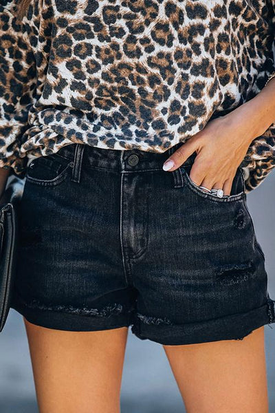 Allovely High Waist Vintage Ripped Denim Shorts